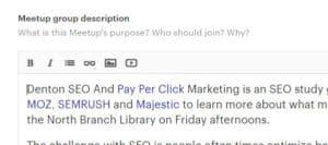 Screenshot of meetup description